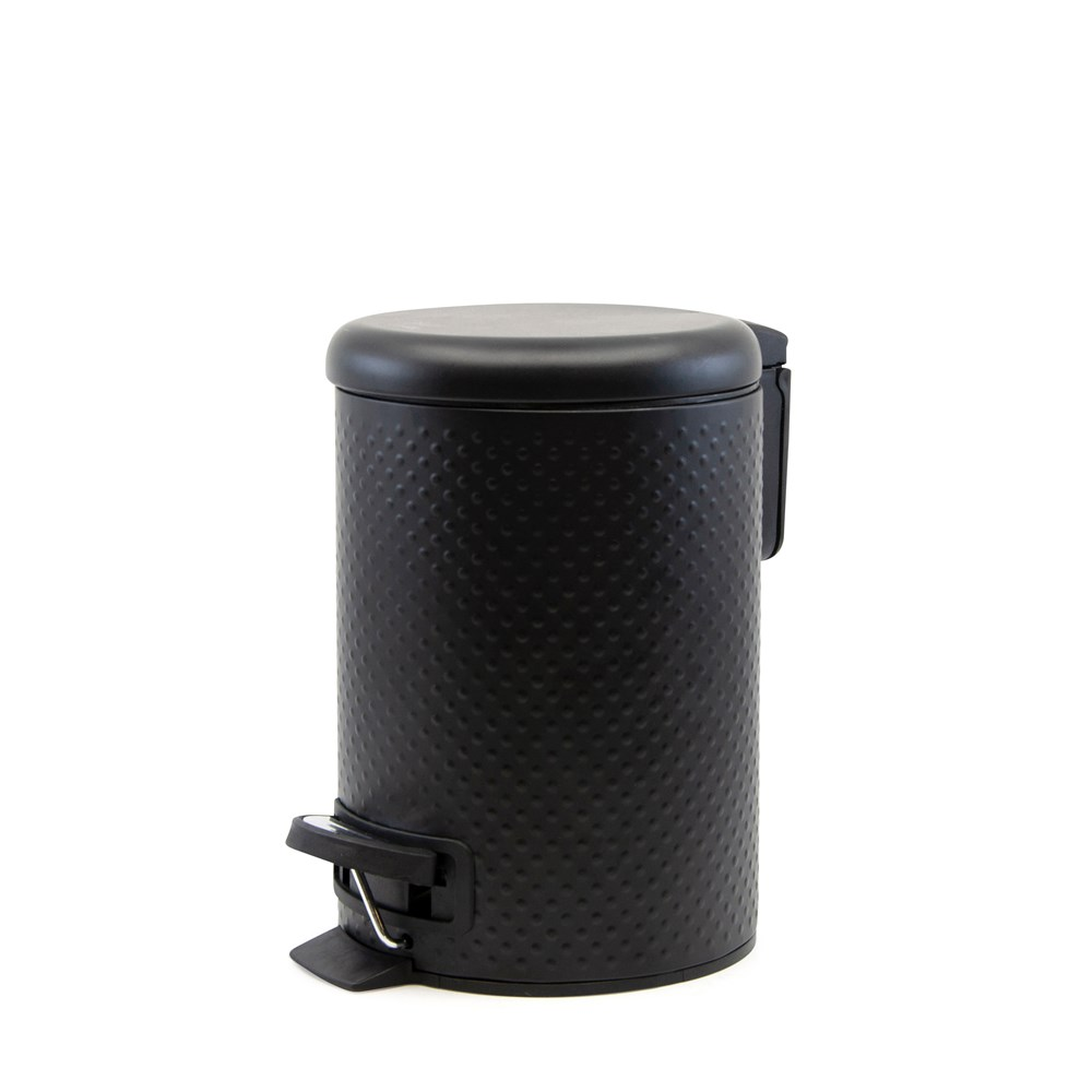 Salt & Pepper Suds Metal Peddle Bin 27 x 23cm Black