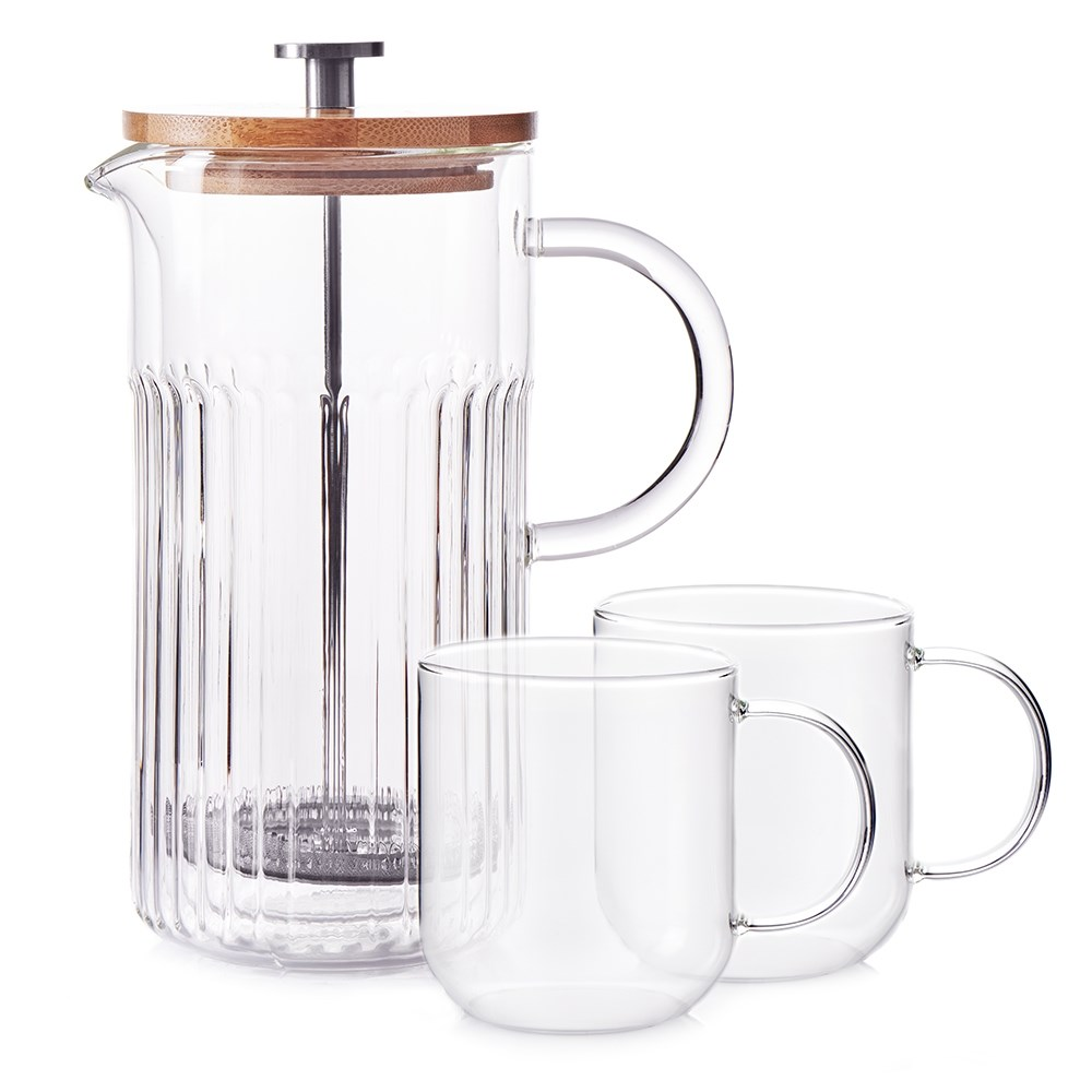 Salt & Pepper Brew 3 Piece Glass French Press Coffee Maker Set 850ml