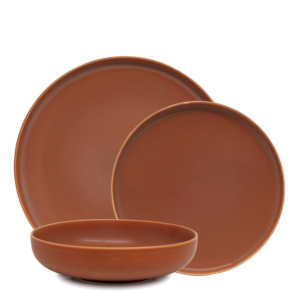 Salt & Pepper Hue 12 Piece Dinner Set Rust