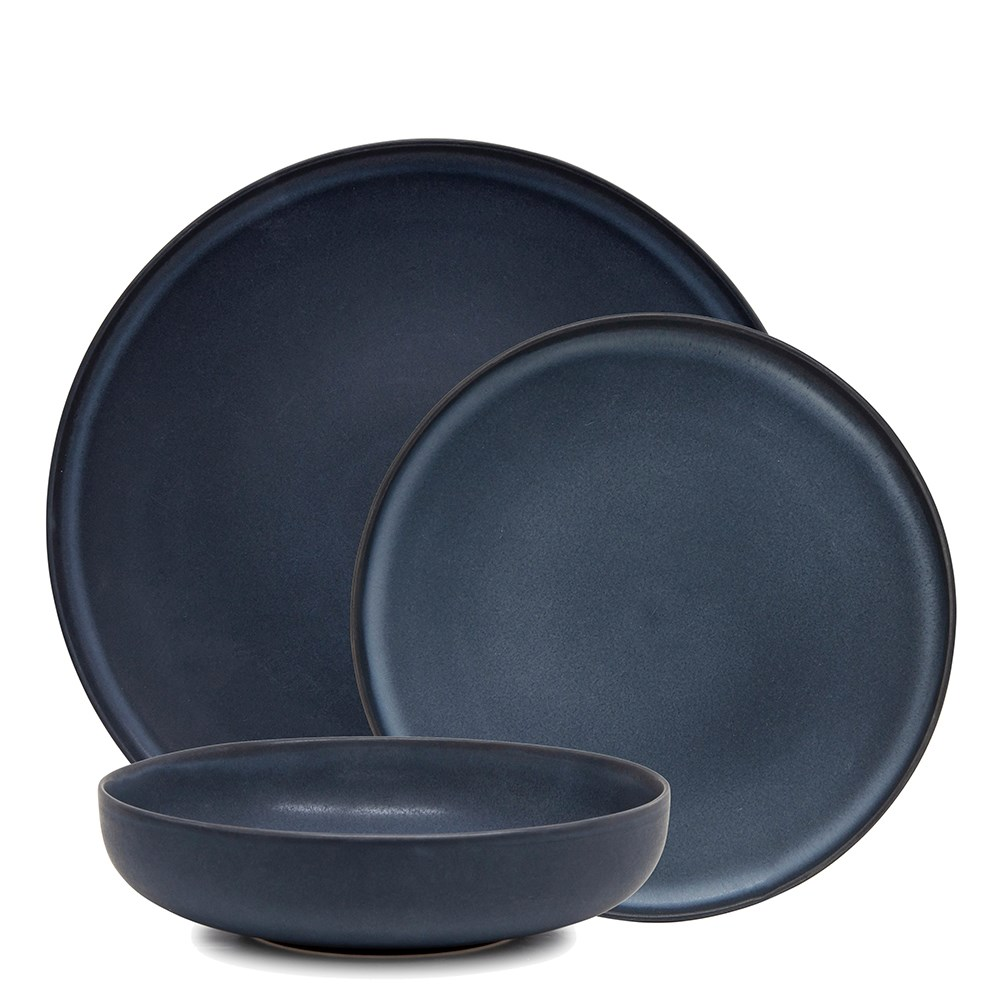 Salt & Pepper Hue 12 Piece Dinner Set Midnight