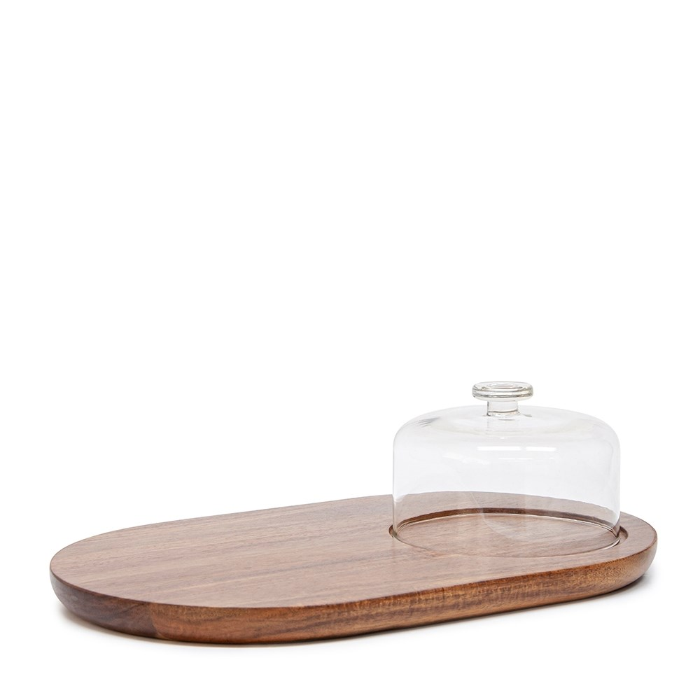 Salt & Pepper Provedore Serving Board Oval with Glass Dome 40cm