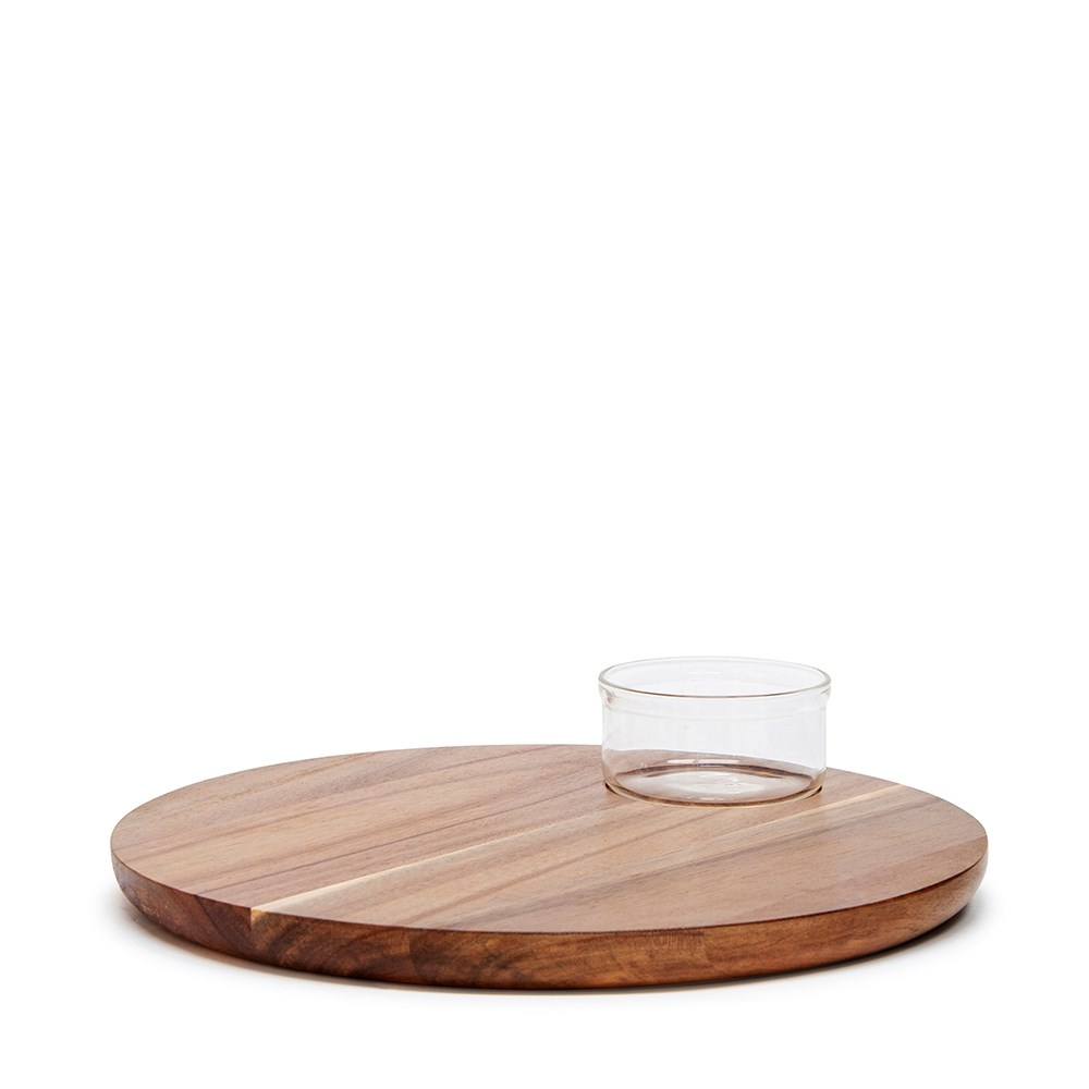 Salt & Pepper Provedore Serving Board with Glass Bowl 35cm