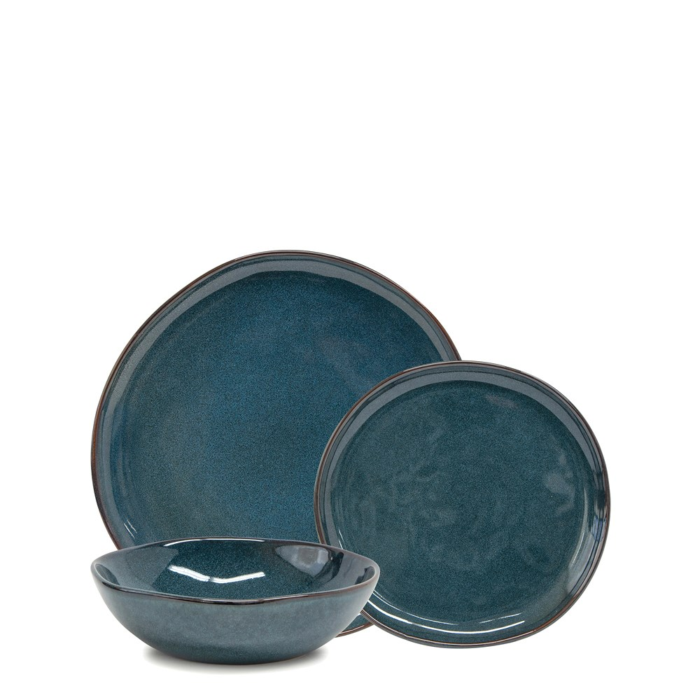 Salt & Pepper Series 12 Piece Dinner Set Teal