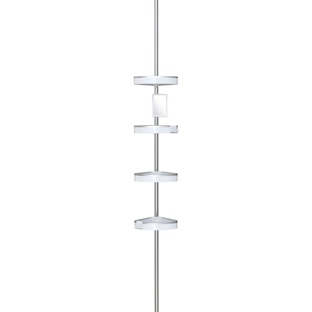 Better Living HiRise 4 Tension Shower Caddy with Mirror - White/Aluminium