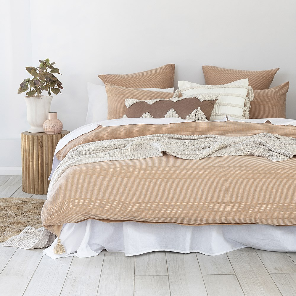 Bambury Juna Peach Jacquard Cotton Quilt Cover Set Double