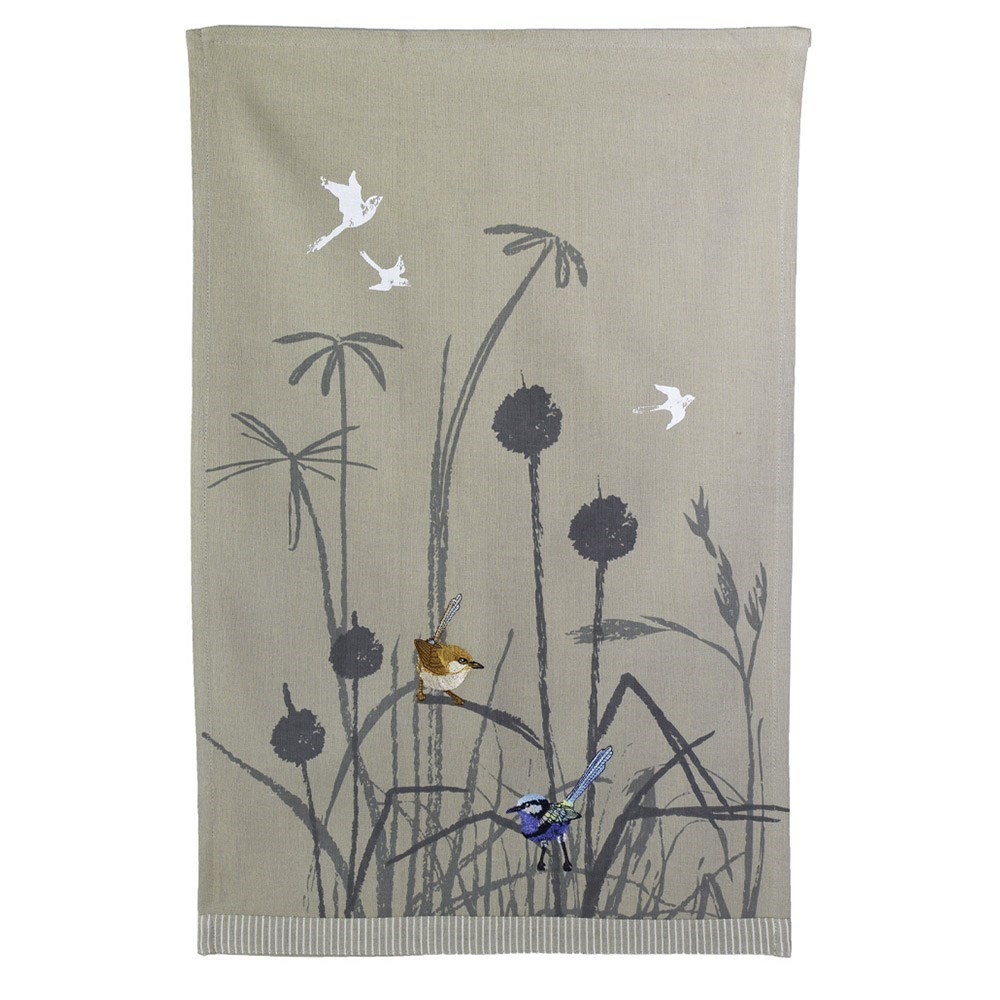 The Linen Press Organic Cotton Blue Wren Grassland Tea Towel