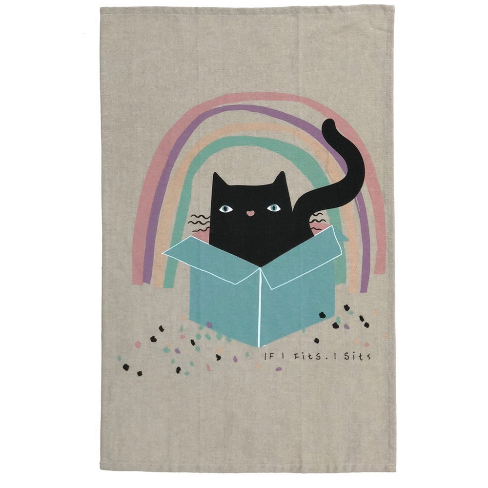 The Linen Press Organic Cotton Cat Love Cat in Box Tea Towel