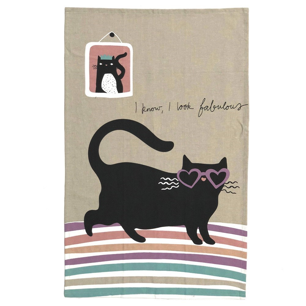 The Linen Press Organic Cotton Cat Love Love Heart Tea Towel