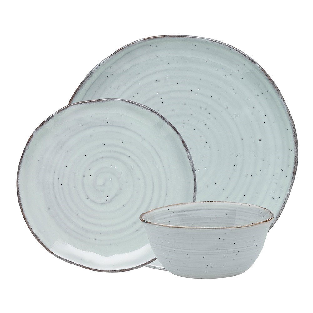 Ecology Ottawa Lichen Stoneware 12-Piece Dinner Set Light Green