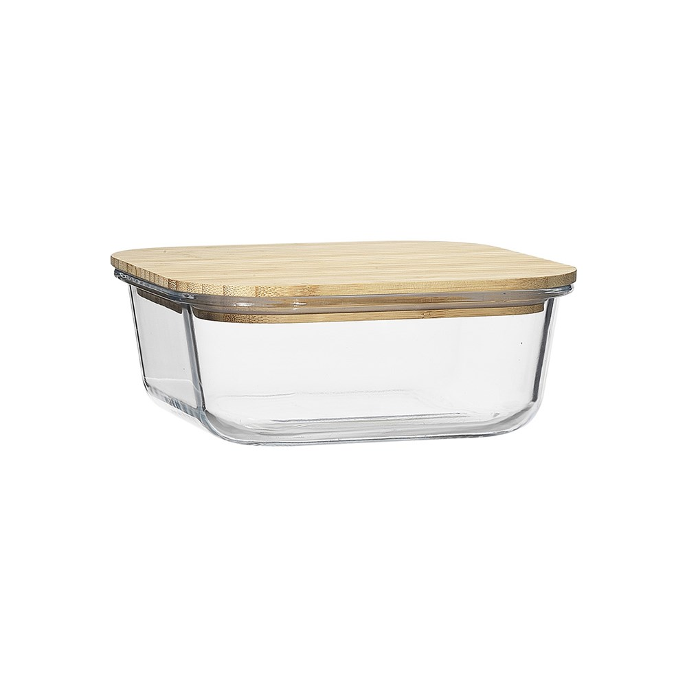 Ecology Nourish Square Glass Storage Container with Bamboo Lid 18cm
