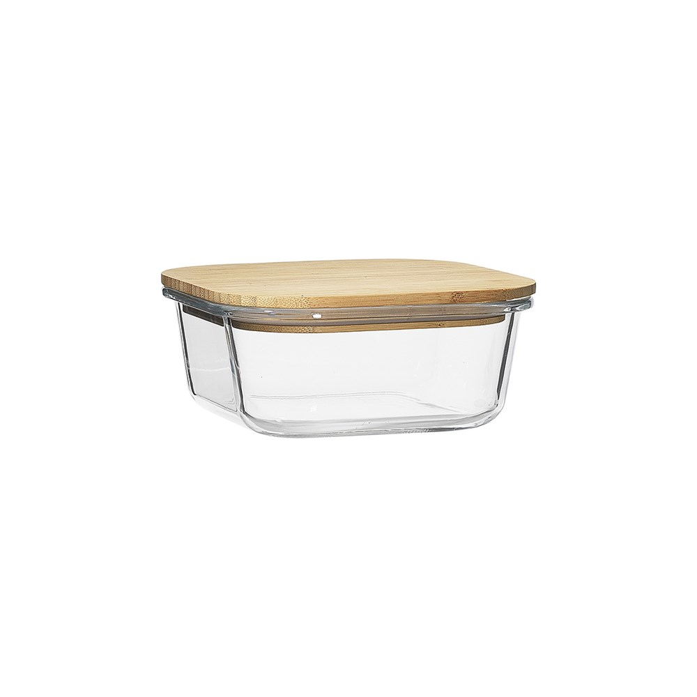 Ecology Nourish Square Glass Storage Container with Bamboo Lid 15cm