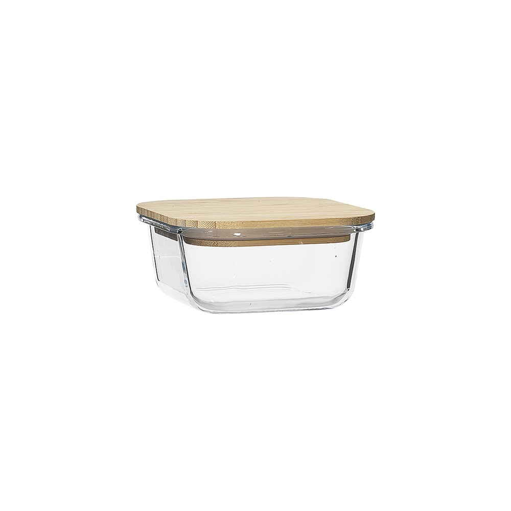 Ecology Nourish Square Glass Storage Container with Bamboo Lid 13.5cm