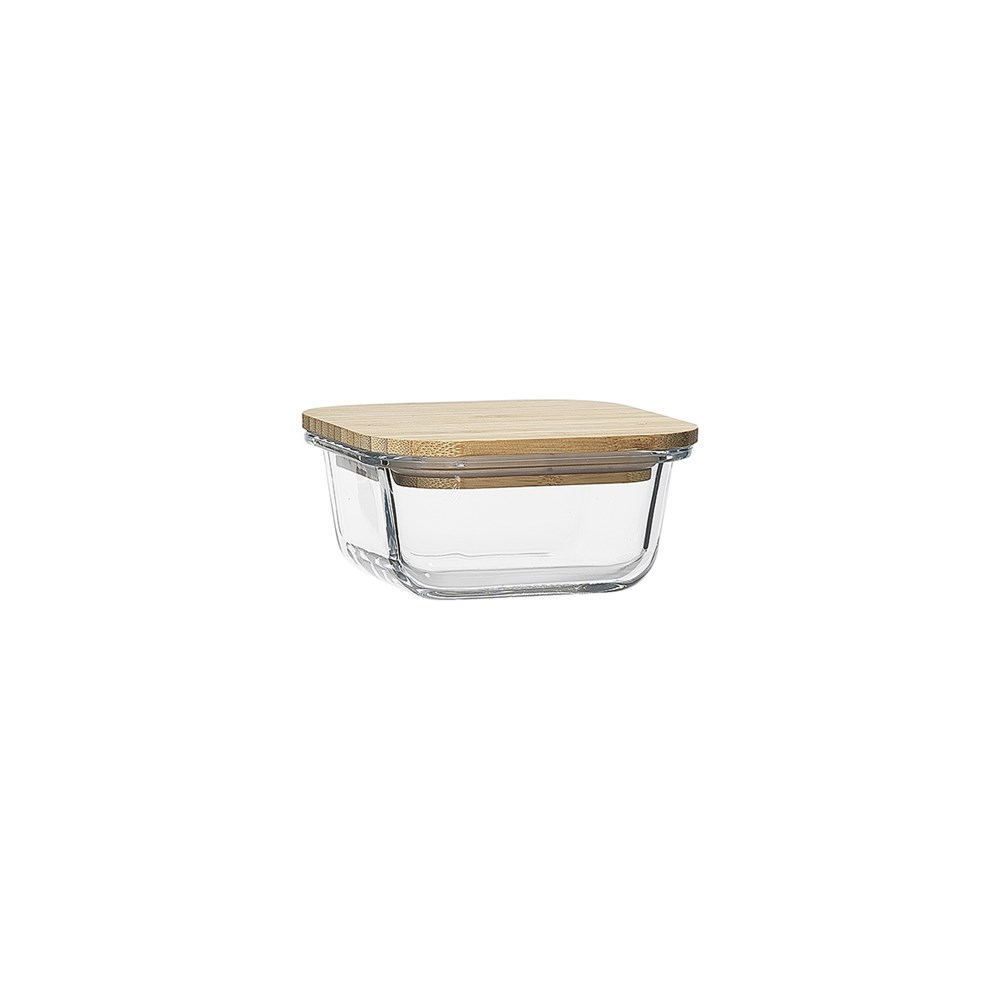 Ecology Nourish Square Glass Storage Container with Bamboo Lid 11.5cm
