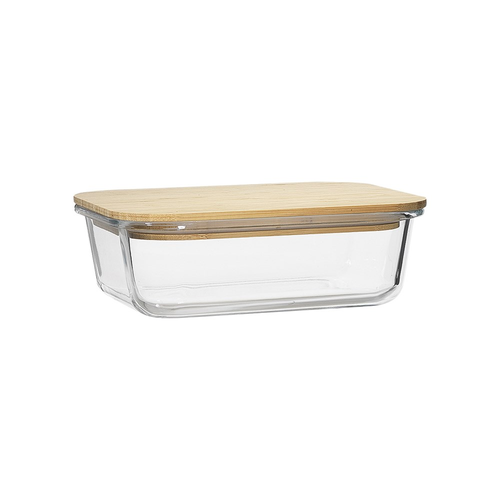 Ecology Nourish Rectangle Dual Compartment Storage Container with Bamboo Lid 20cm