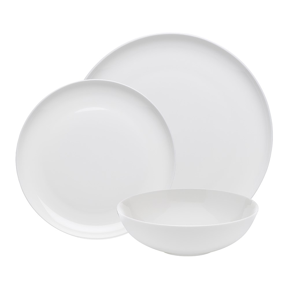 Ecology Canvas Coupe 12 Piece Bone China Dinner Set White
