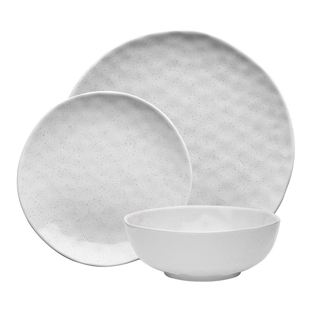 Ecology Speckle Milk Stoneware 12-Piece Dinner Set White