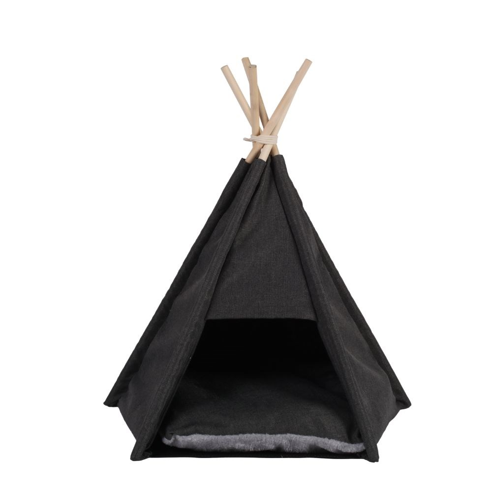 Charlie's Premium Faux Linen Tipi Tent Dog Bed Charcoal Large