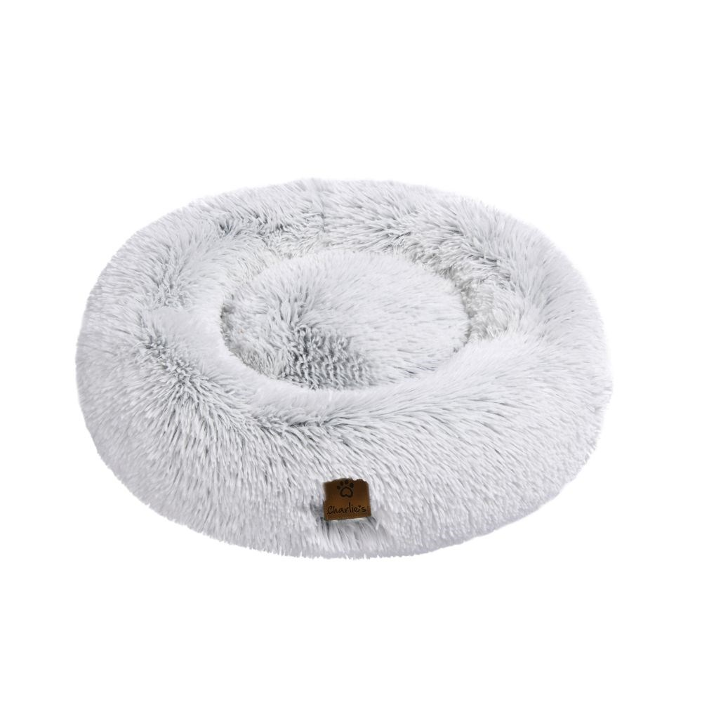 Charlie's Faux Fur Fluffy Arctic White Calming Dog Bed Large