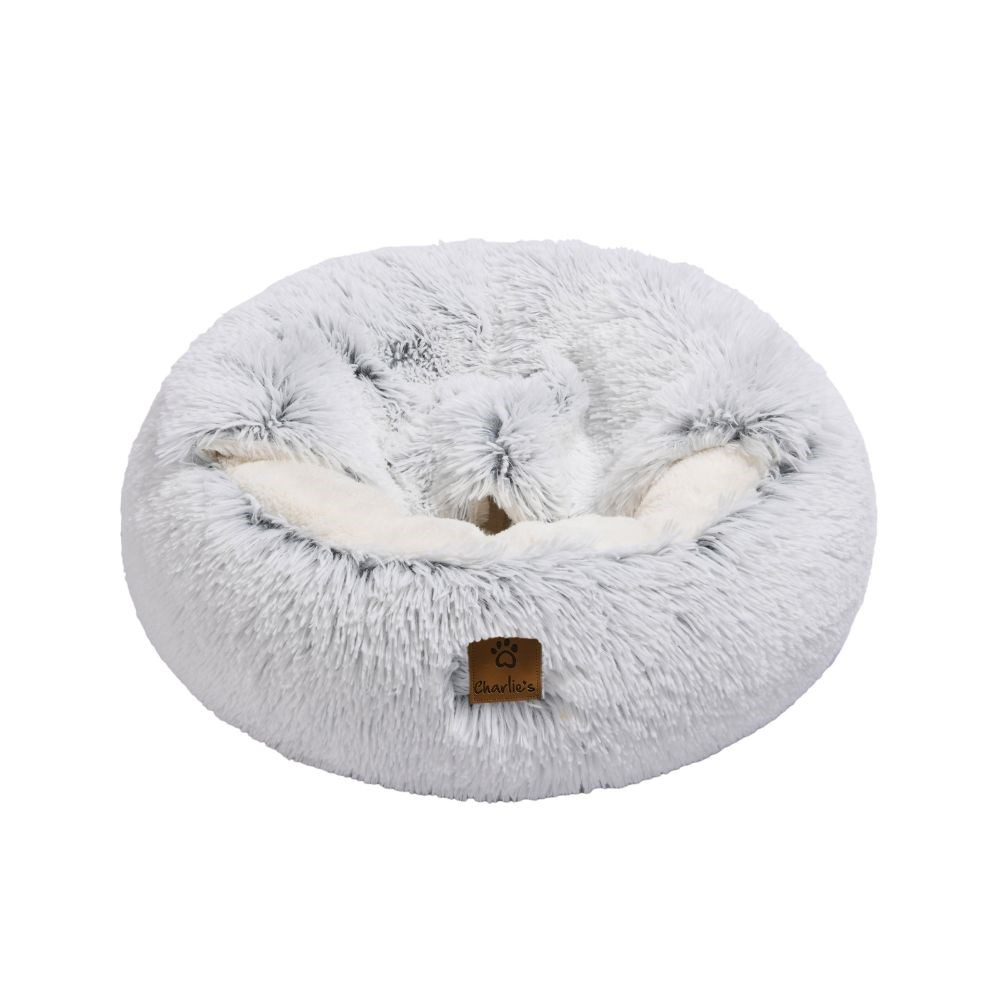 Charlie's Faux Fur Snookie Hooded Cushion Dog Bed White Large