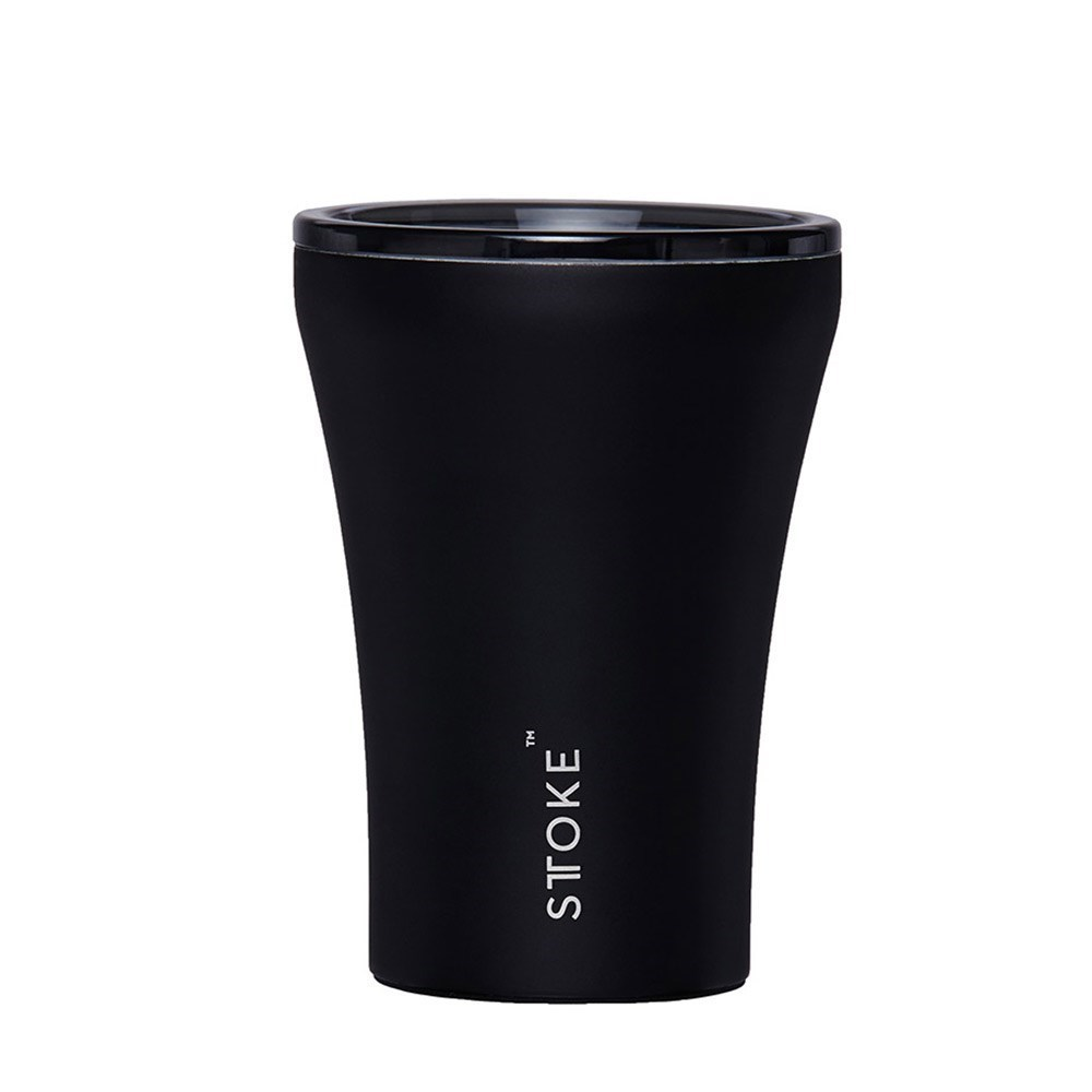 Sttoke Ceramic & Stainless Steel Reusable Coffee Cup 236ml (8oz) Lux Black