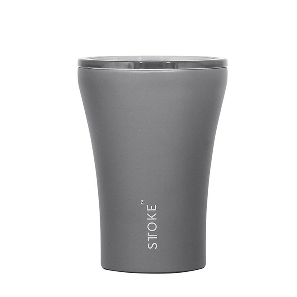 Sttoke Ceramic & Stainless Steel Reusable Coffee Cup 236ml (8oz) Slated Grey
