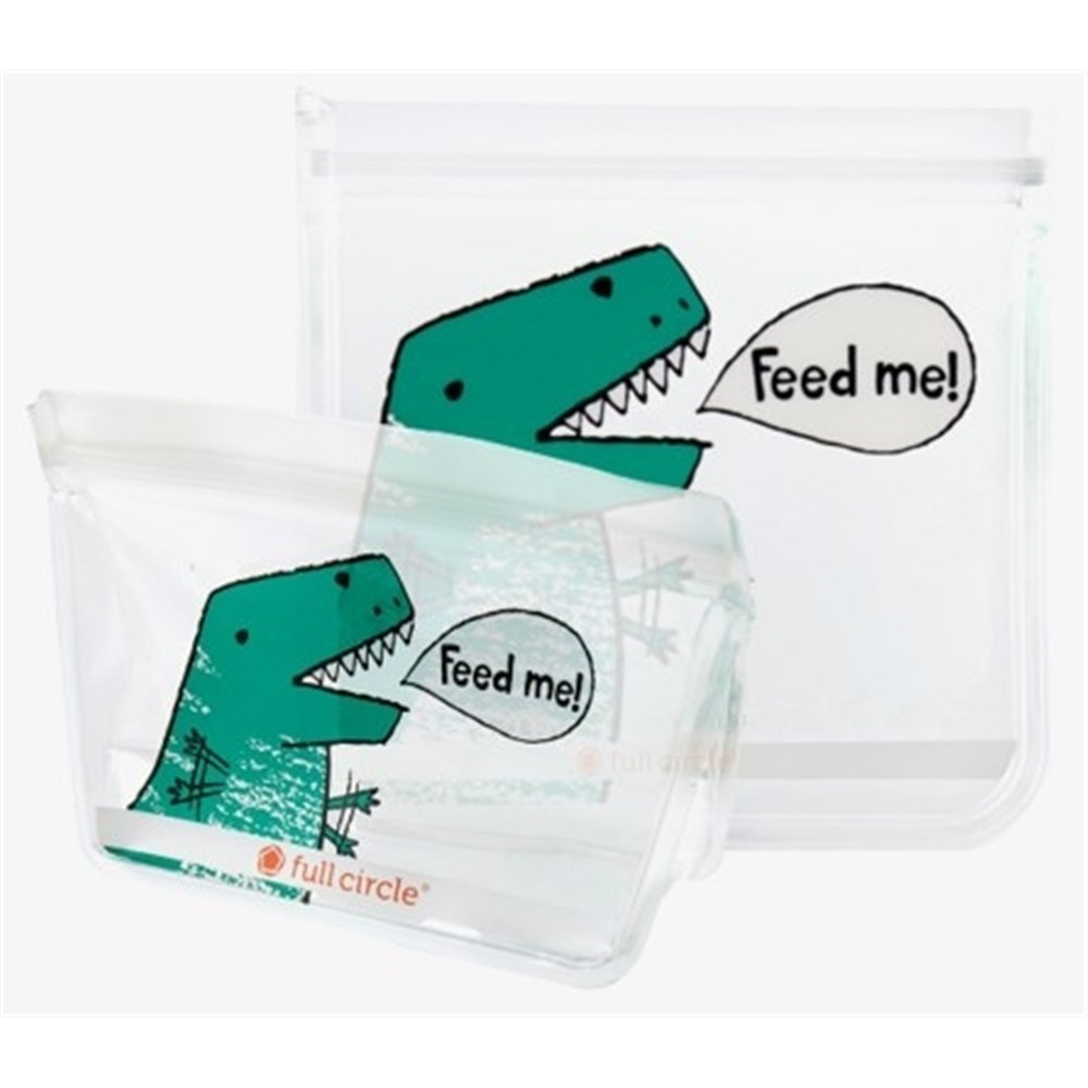 Full Circle Ziptuck Reusable Lunch Bags Dinosaur Set of 2