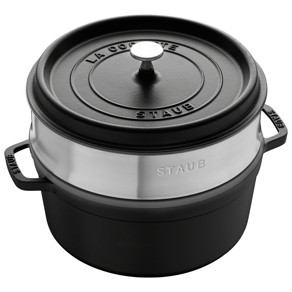 Staub Enamelled Cast Iron Round Cocotte with Steamer 26cm Black 5.2L