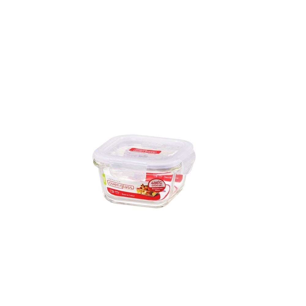 Lock & Lock Heat Resistant Glass Square Food Container 300ml