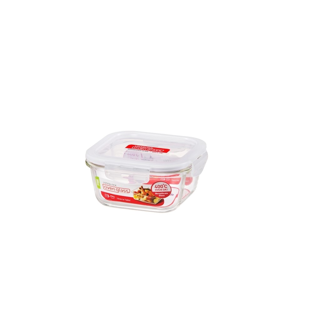 Lock & Lock Heat Resistant Glass Square Food Container 500ml