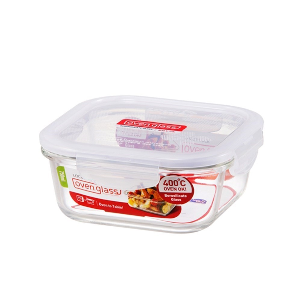 Lock & Lock Heat Resistant Glass Square Food Container 750ml