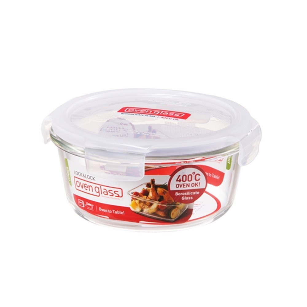 Lock & Lock Heat Resistant Glass Round Food Container 650ml
