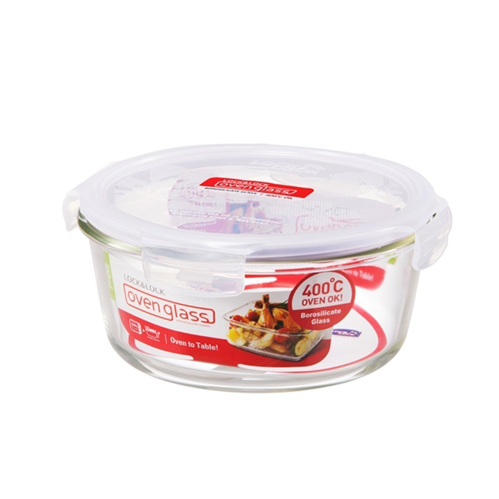Lock & Lock Heat Resistant Glass Round Food Container 950ml