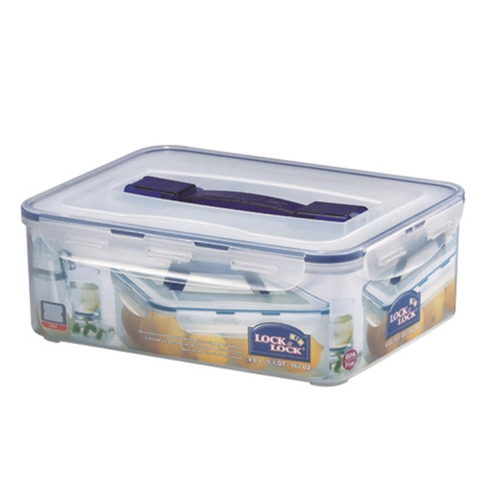 Lock & Lock Classic Tall Rectangle Food Container with Handle 4.8L
