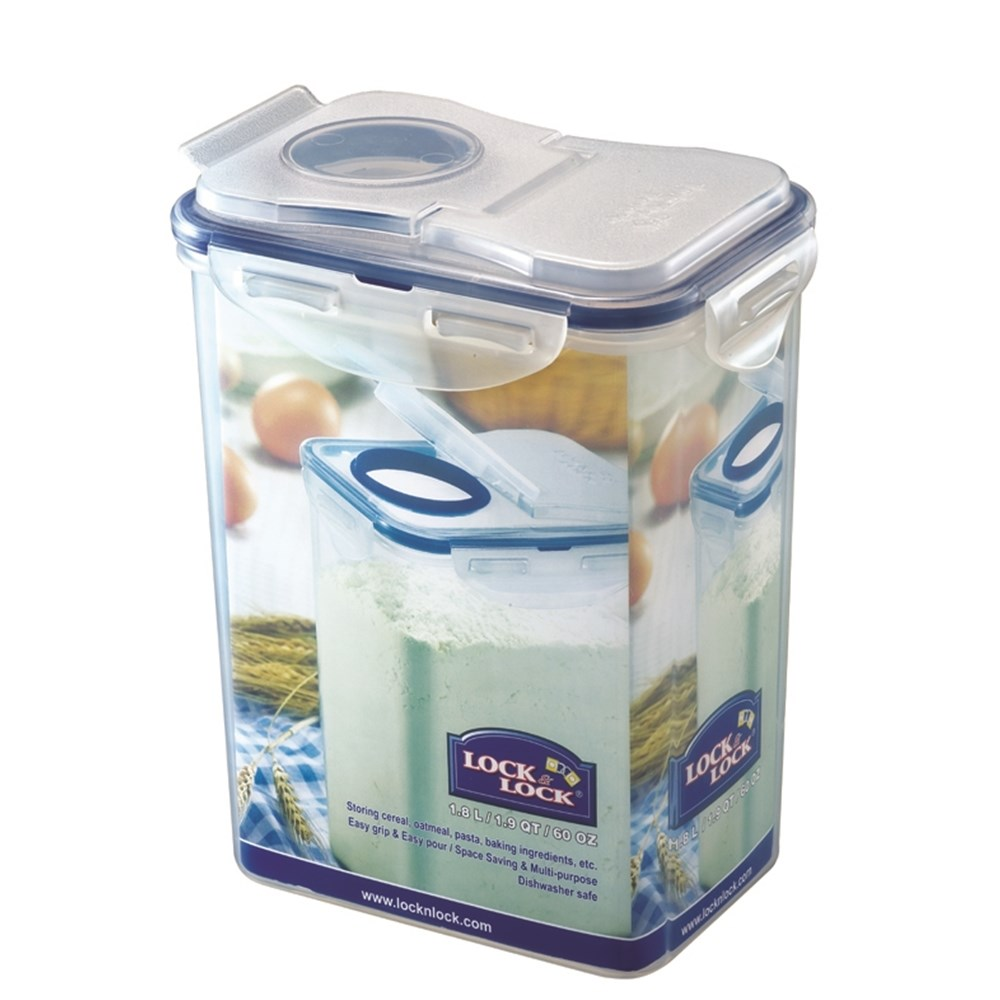 Lock & Lock Classic Tall Rectangular Food Container with Flip Pour Lid 1.8L