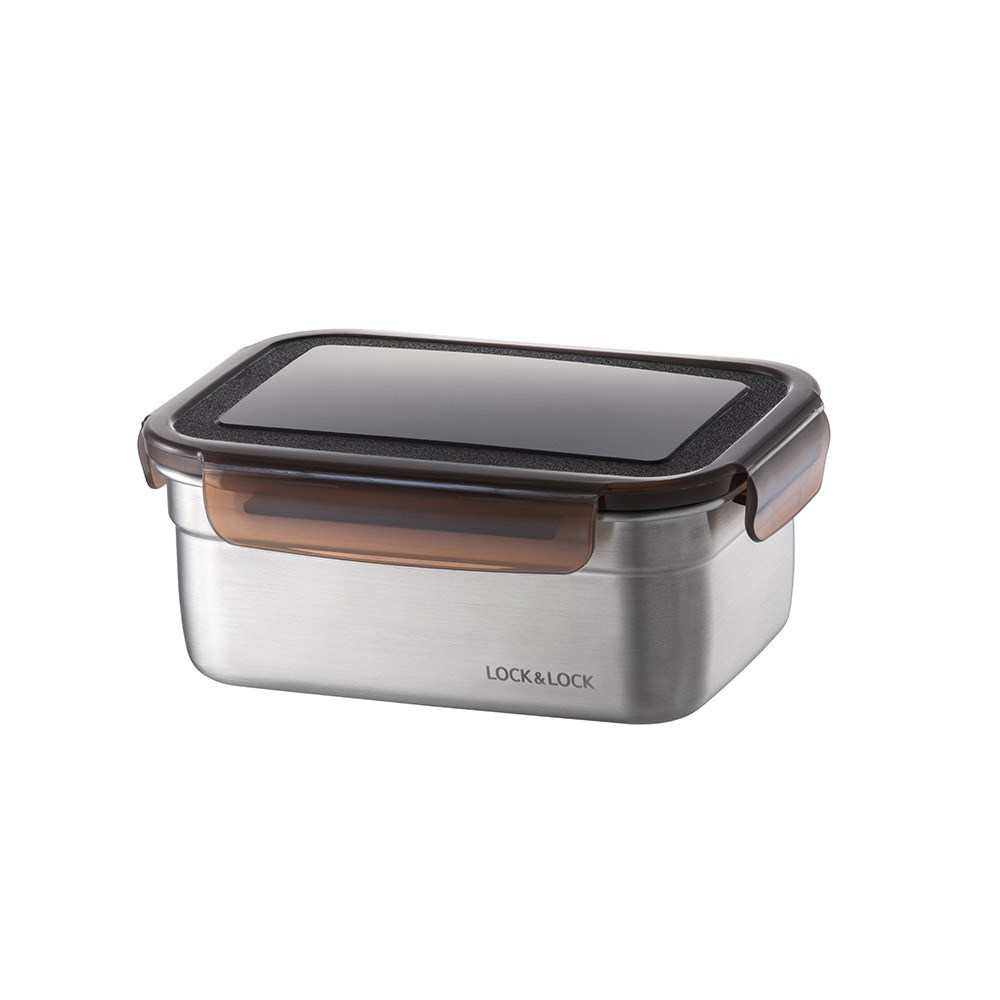 Lock & Lock Food-Safe Stainless Steel Rectangular Food Container 1.1L