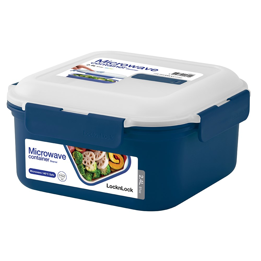 Lock & Lock 2.4L Microwave Square Container with Steamer Tray