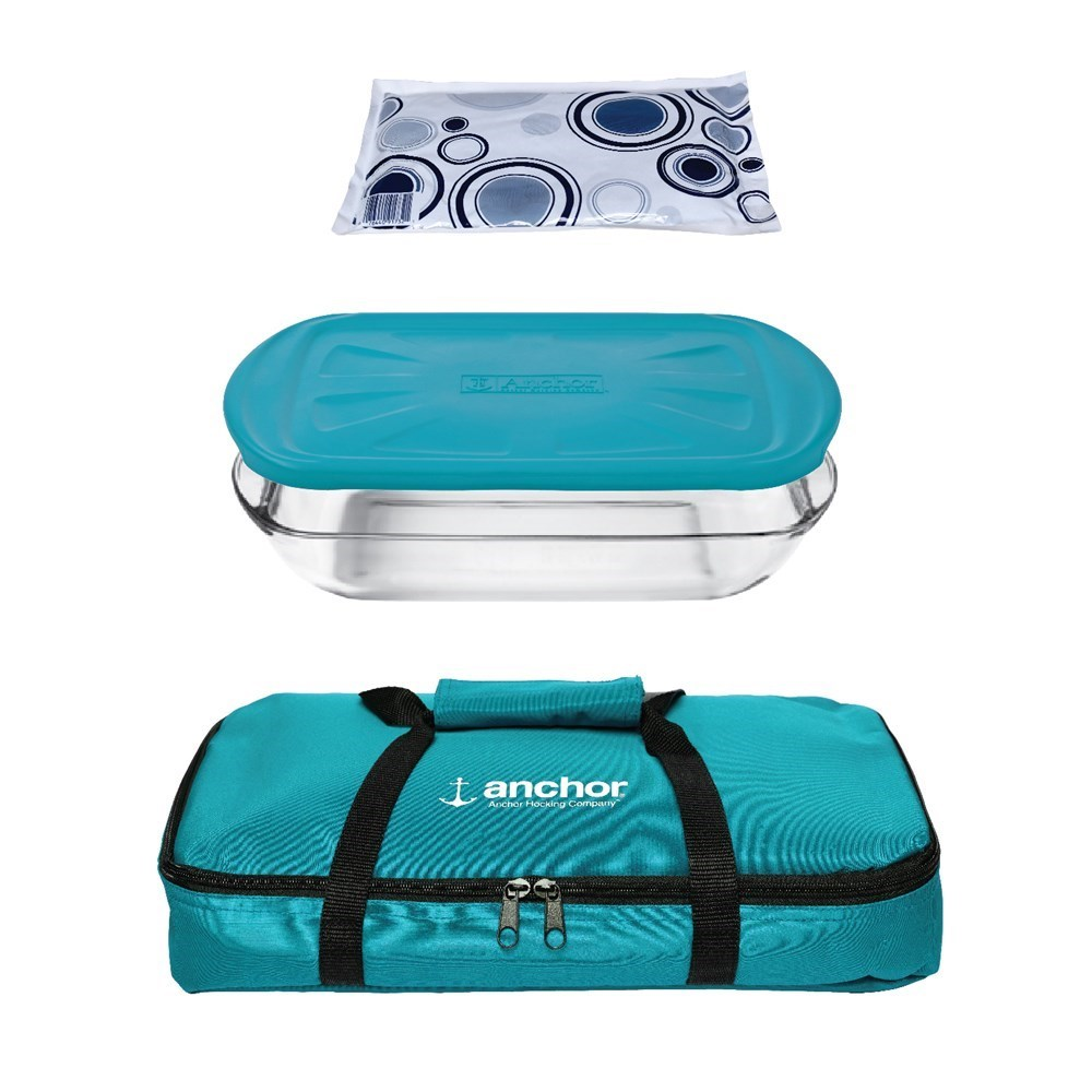 Anchor Hocking Bake n Take Food Container & Hot/Cold Pack Set Teal