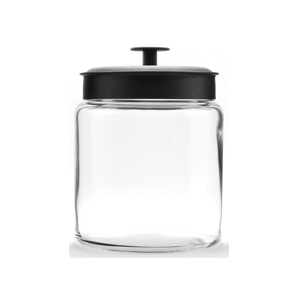 Anchor Hocking Montana 1.9L Storage Jar with Black Lid 18 x 15cm