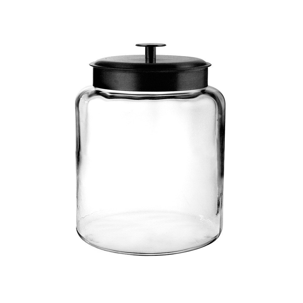 Anchor Hocking Montana 7.5L Storage Jar with Black Lid 27 x 22.5cm
