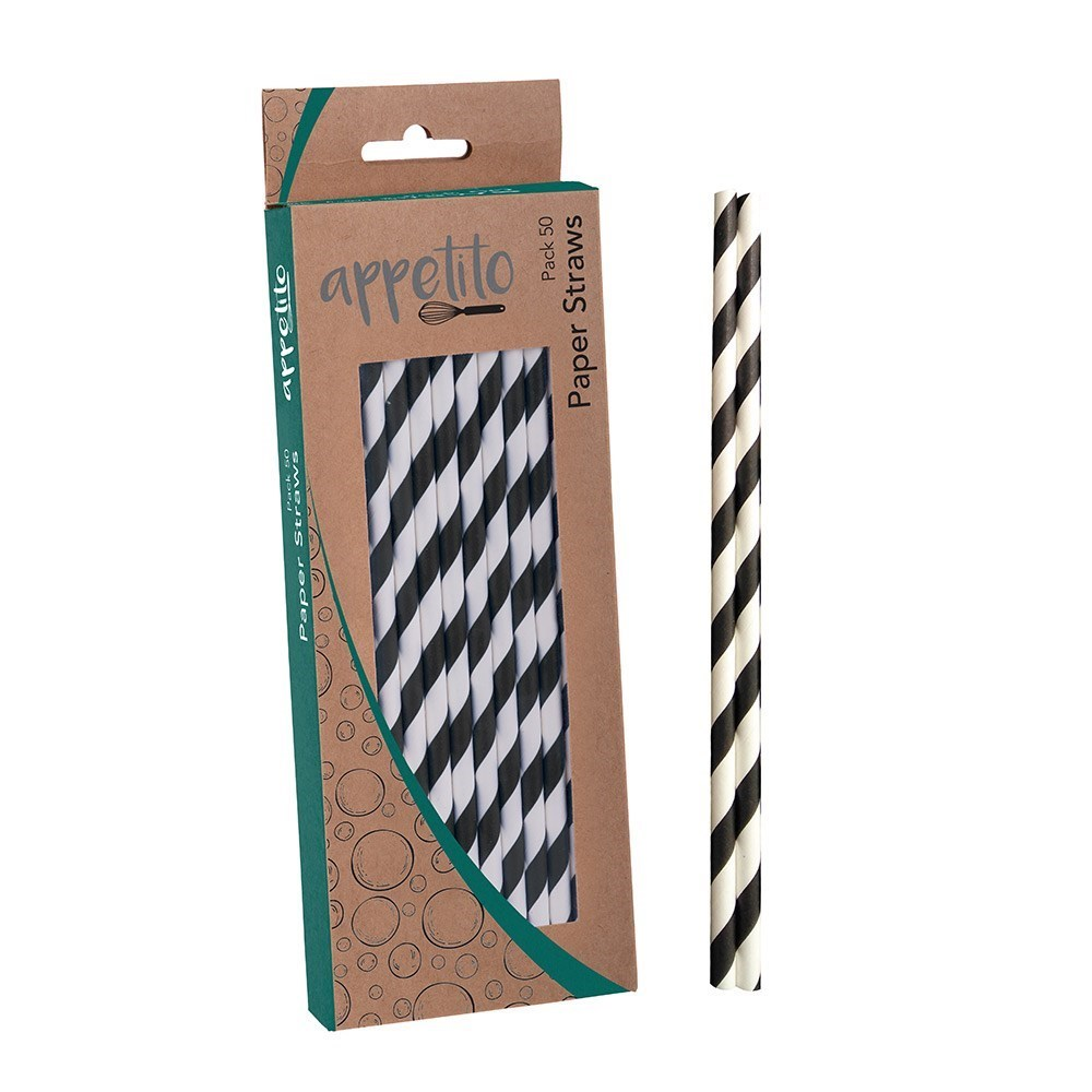 Appetito Paper Straws Pack of 50 Black Stripes