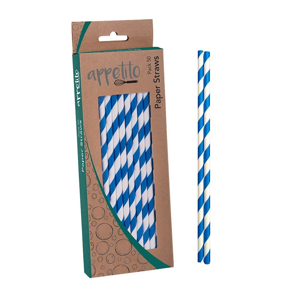 Appetito Paper Straws Pack of 50 Blue Stripes