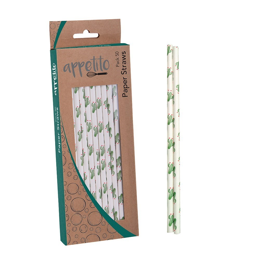 Appetito Paper Straws Pack of 50 Cactus