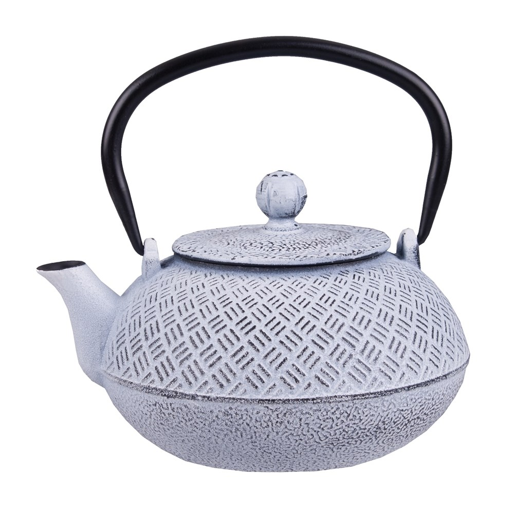 Teaology Cast Iron Tea Pot 800ml Parquetry White