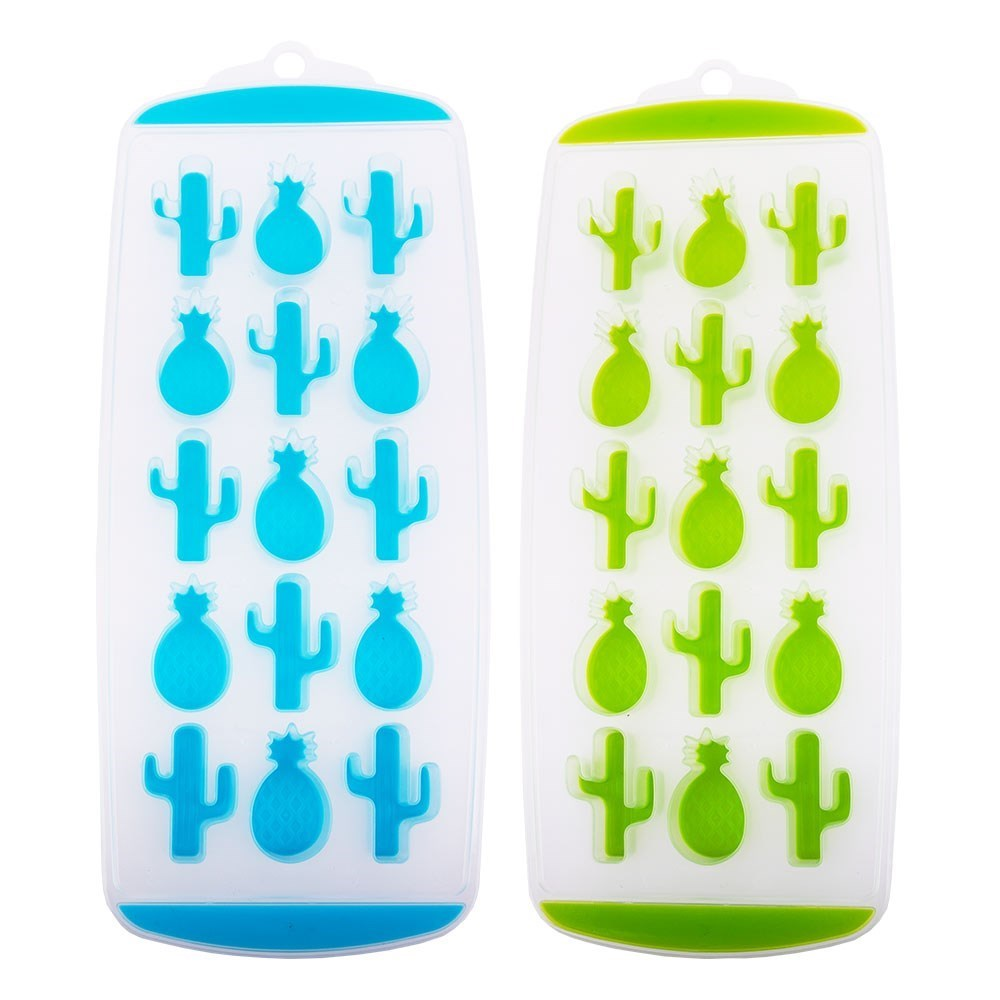 Appetito Easy Release 2 Piece 15 Cube Pineapple & Cactus Ice Tray Set