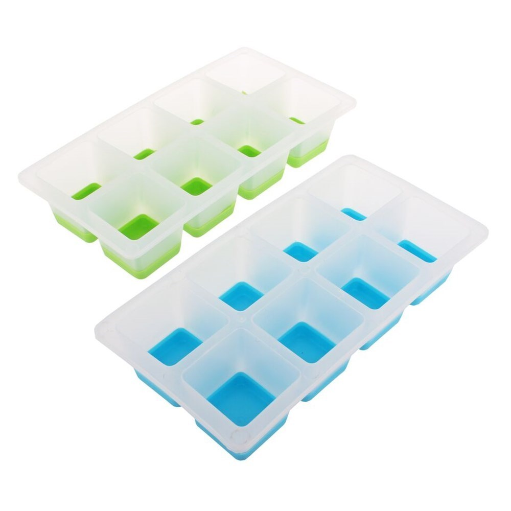 Appetito Easy Release 8 Cube Large Square Ice Tray Set of 2