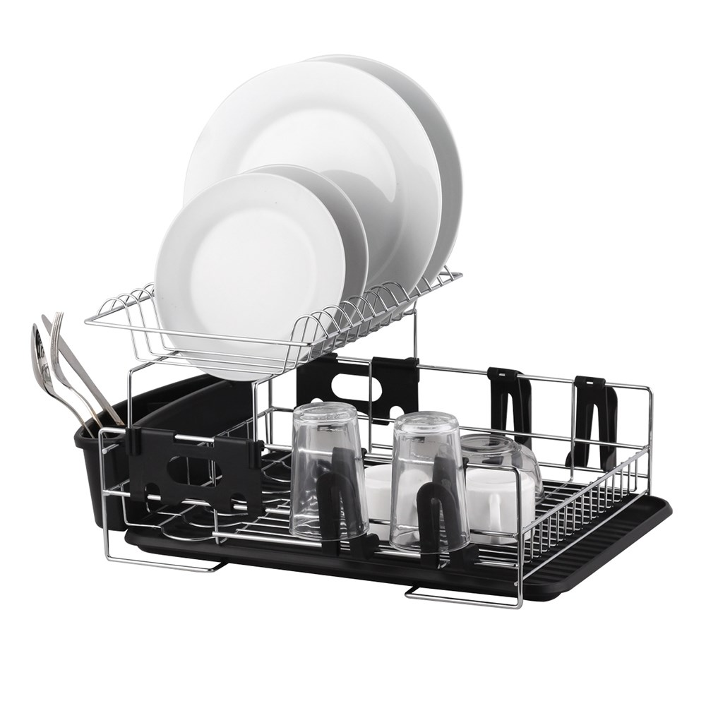 D.Line Stainless Steel 2 Tier Dish Rack With Draining Board