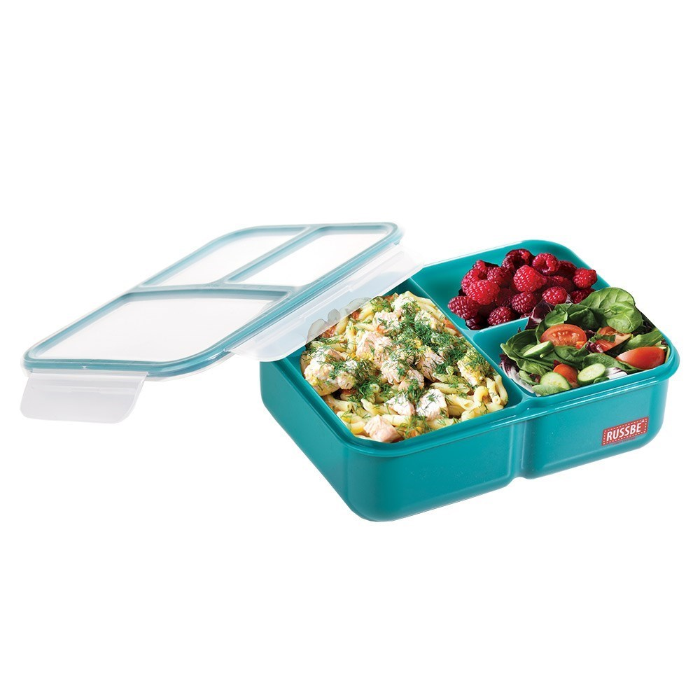 Russbe Plastic Lunch Bento 3-Compartment 1.6L Teal