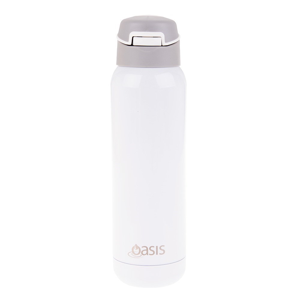 Oasis Stainless Steel Insulated Sports Bottle with Inbuilt Straw 500ml White