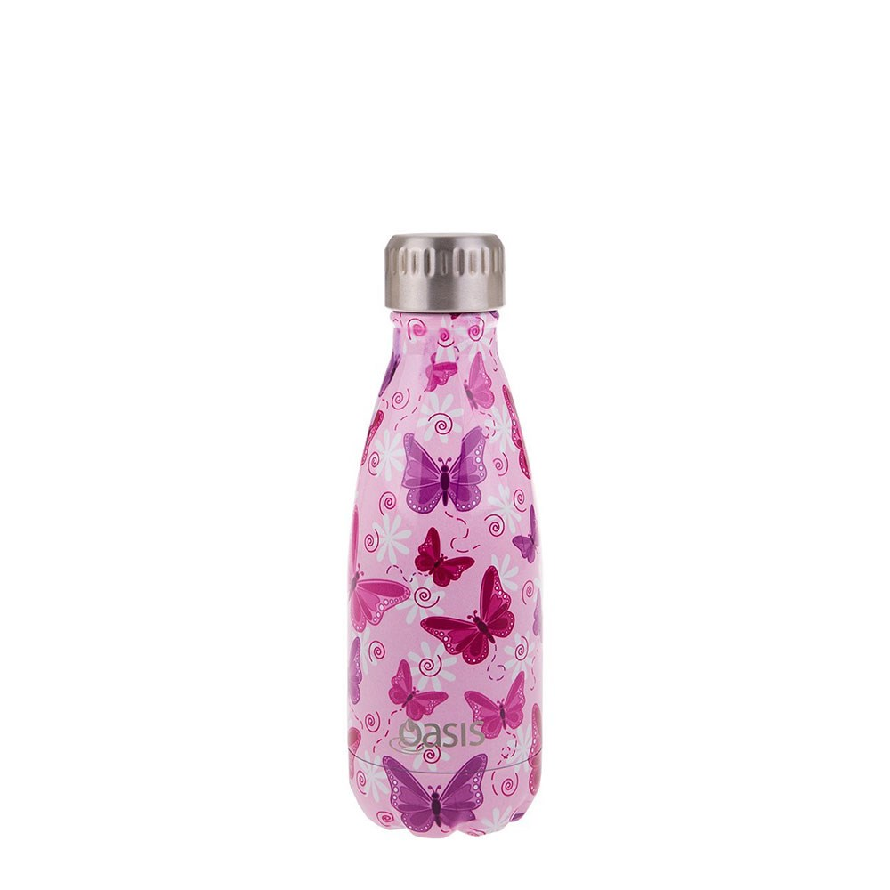 Oasis Stainless Steel Double Wall Insulated Drink Bottle 350ml Butterflies