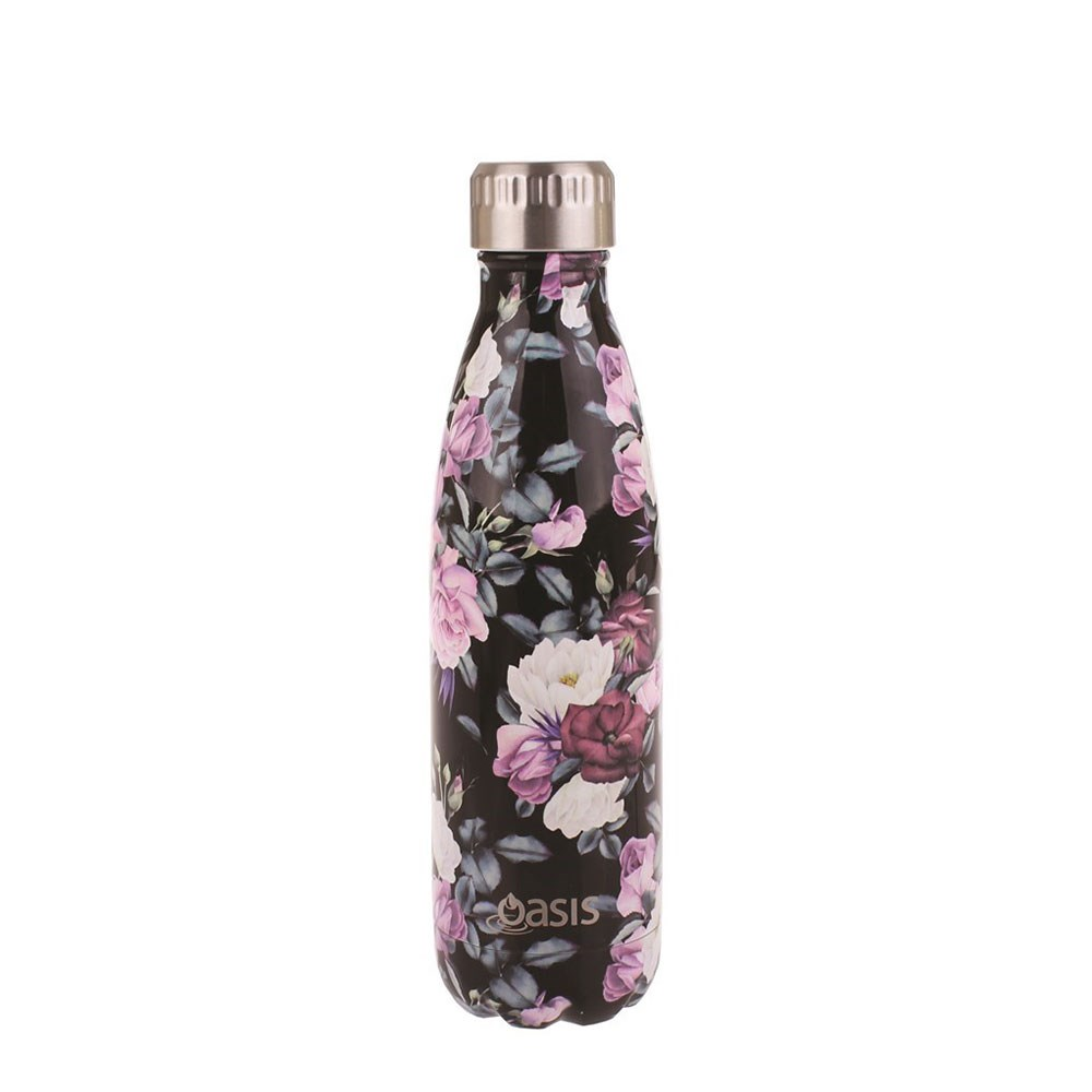 Oasis Insulated Stainless Steel Water Bottle 500ml Midnight Floral